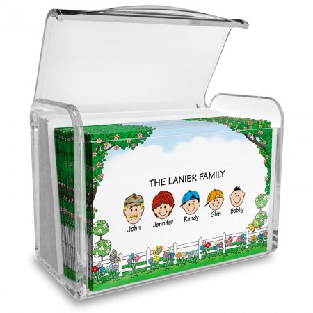 Picket Fence Family Note Card Set with Acrylic Holder