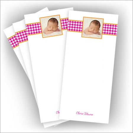"Pink Houndstooth Photo Pads - 3.5"" x 8"""