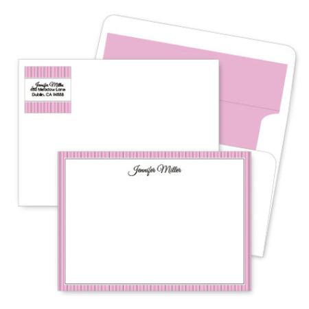 Pink Stripes Artistic Correspondence Card Ensembles