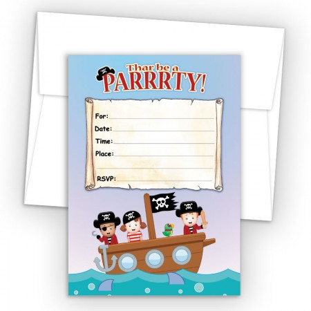 Pirates Fill-In Birthday Party Invitations
