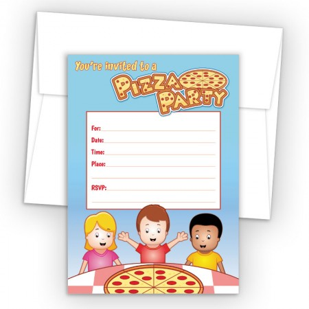 Pizza Party Fill-In Birthday Party Invitations