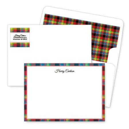 Plaid Red Artistic Correspondence Card Ensembles