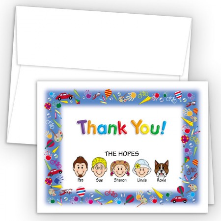Playtime Foldover Family Thank You Card