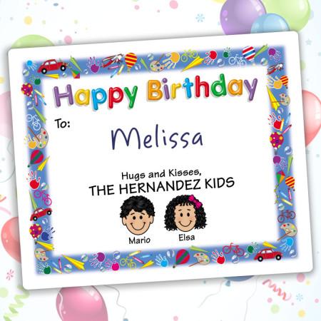 Playtime Happy Birthday Gift Label