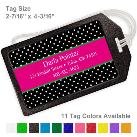 Polka Dots Black Luggage Tag