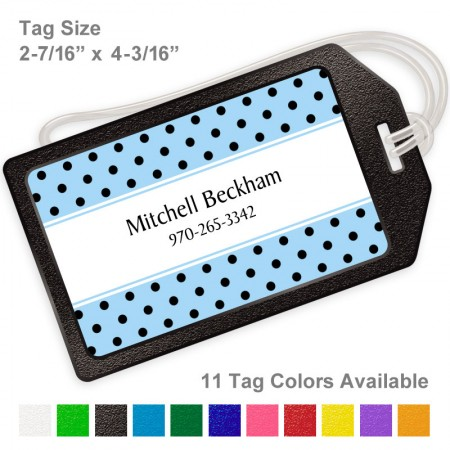 Polka Dots Black on Baby Blue Luggage Tag