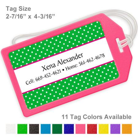 Polka Dots Green Luggage Tag