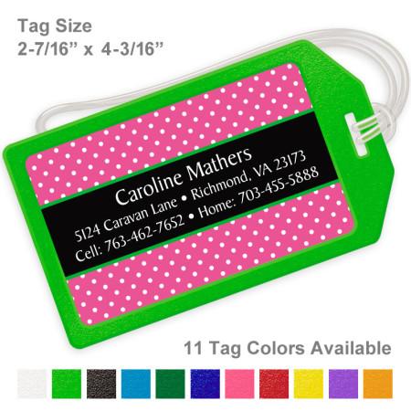 Polka Dots Pink 2 Luggage Tag