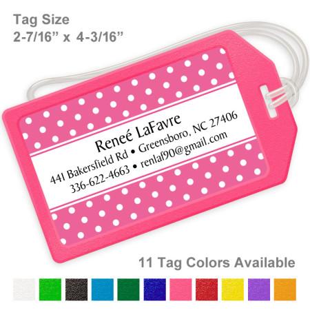 Polka Dots Pink Luggage Tag