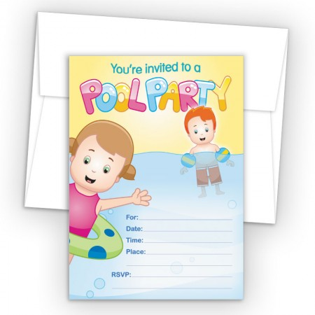 Pool Party Fill-In Birthday Party Invitations