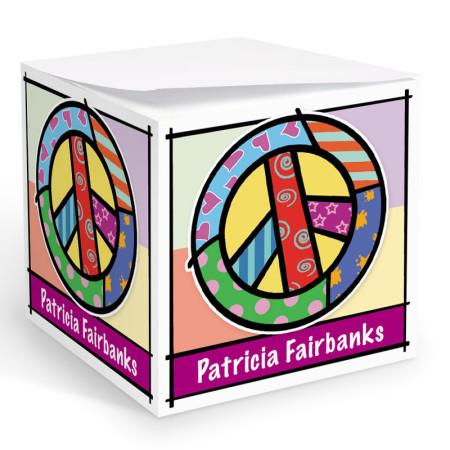 Pop Art Peace Sign Memo Cube