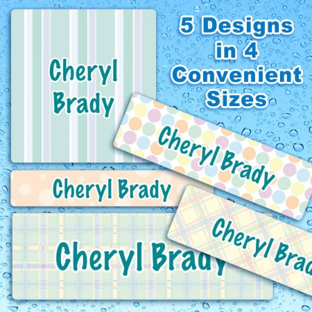 Pretty Pastels Waterproof Name Labels For Kids