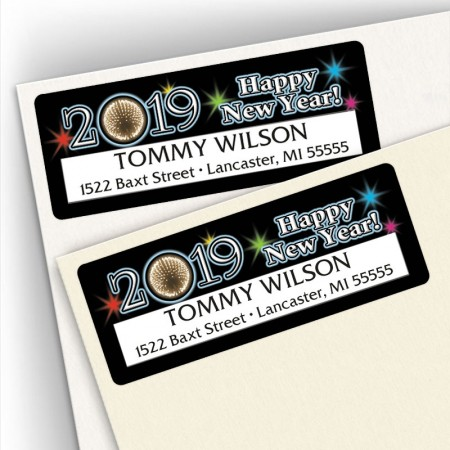 Happy New Year Ball Address Labels