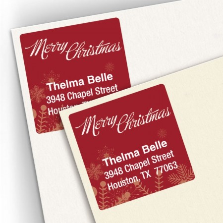 Snowflakes Square Address Labels