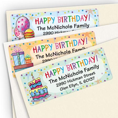 Happy Birthday Address Label Assortment