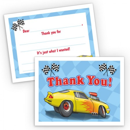 Race Car Fill-In Thank You Cards