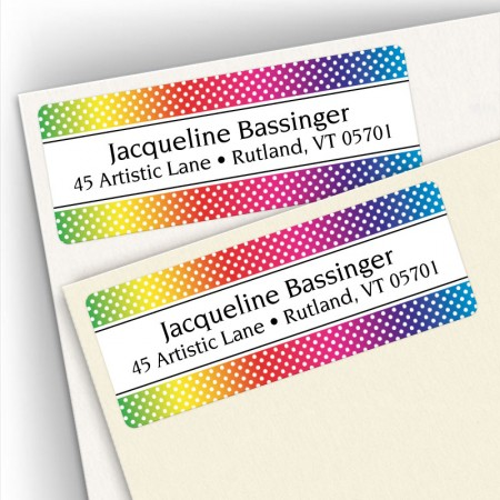 Rainbow Polka Dots Labels