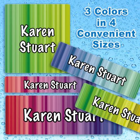 Rainbow Streaks Waterproof Name Labels For Kids