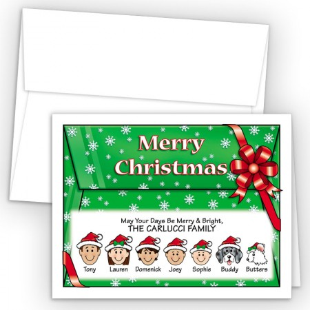 Red Bow Merry Christmas Holiday Fold Note Head