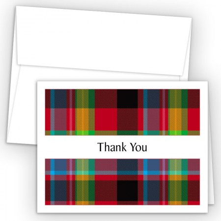 Red Plaid Thank You Cards