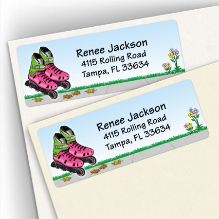 Rollerblades Girl Address Labels