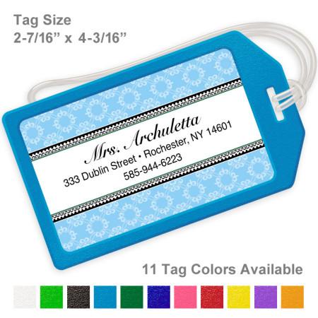 Rosalinda Pattern Blue Luggage Tag