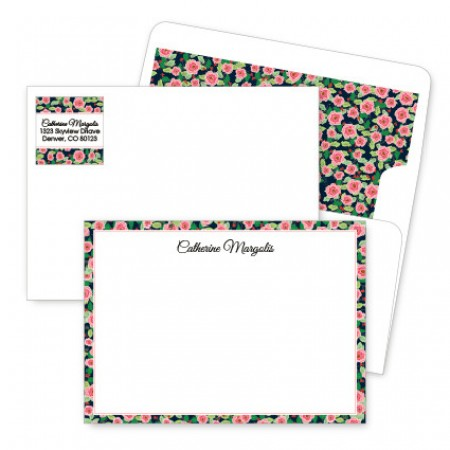 Rose Bordered Artistic Correspondence Card Ensembles