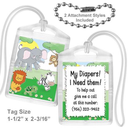 Safari Animals Mini Bag Tag