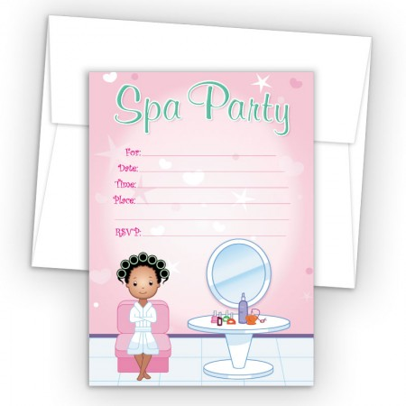 Salon Girl 3 Fill-In Birthday Party Invitations