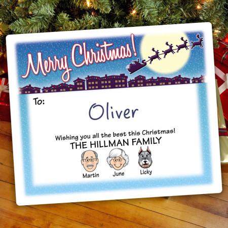 Santa Silhouette Christmas Gift Label