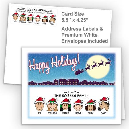 Santa Silhouette Happy Holidays Fold Note Set