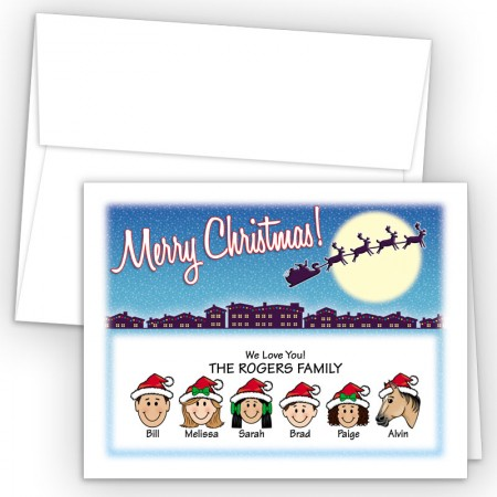 Santa Silhouette Merry Christmas Holiday Fold Note Head