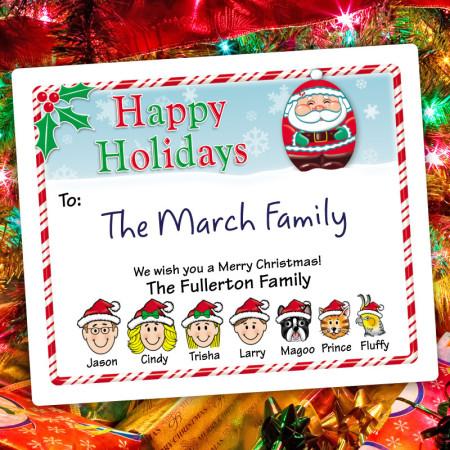 Santa Holiday Gift Label