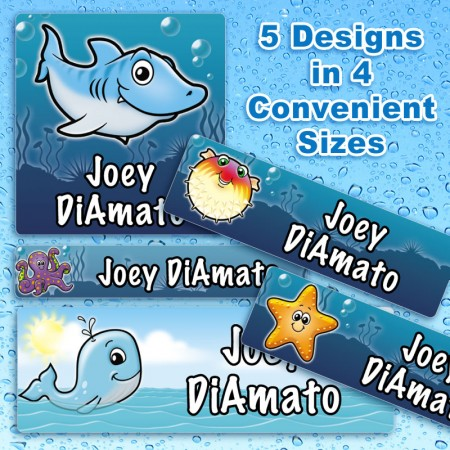 Sea Life Waterproof Name Labels For Kids