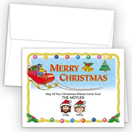 Santa's Sleigh Merry Christmas Holiday Fold Note Head