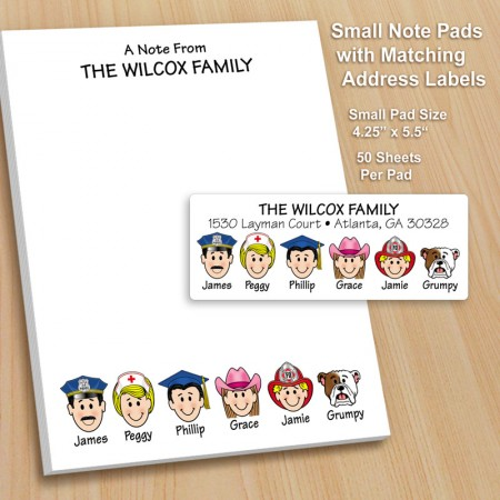 Small Family Notepad and Label Combo