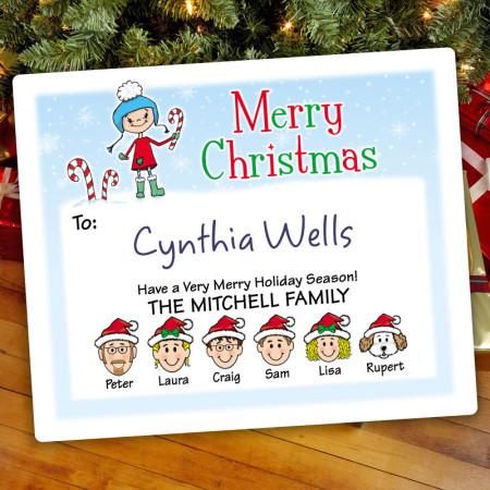 Snow Girl Christmas Gift Label