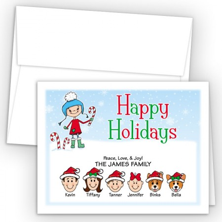 Snow Girl Happy Holiday Fold Note