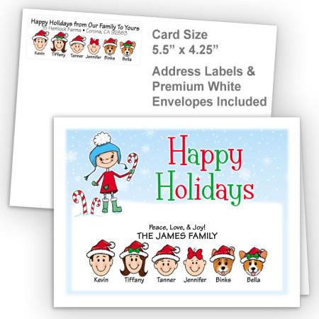 Snow Girl Happy Holidays Fold Note Set