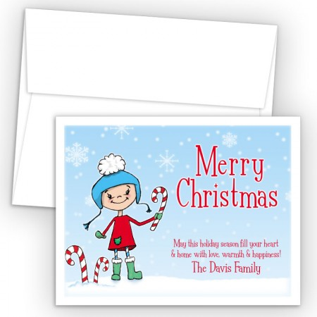 Snow Girl Merry Christmas Holiday Cards