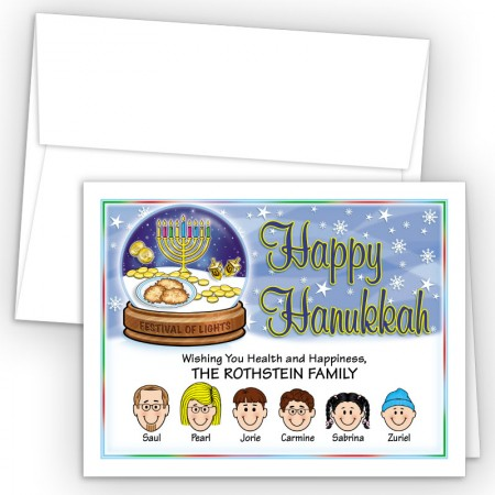 Snow Globe Happy Hanukkah Holiday Fold Note Head