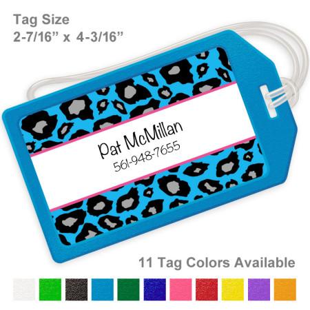 Snow Leopard Blue Luggage Tag