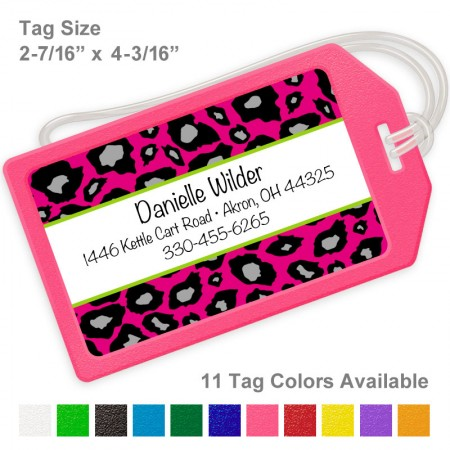 Snow Leopard Hot Pink Luggage Tag