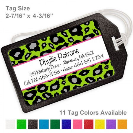 Snow Leopard Lime Green Luggage Tag