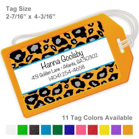 Snow Leopard Orange Luggage Tag