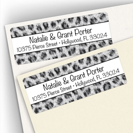 Snow Leopard Pattern Address Labels