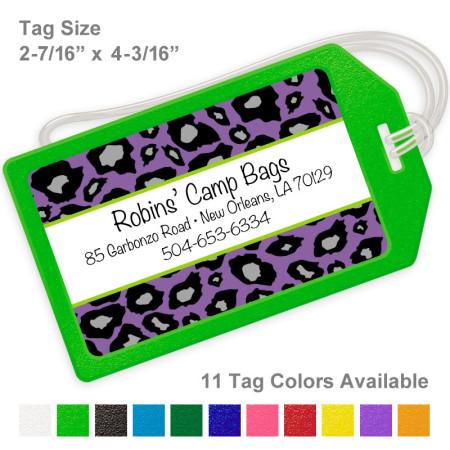 Snow Leopard Purple Luggage Tag