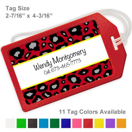 Snow Leopard Red Luggage Tag