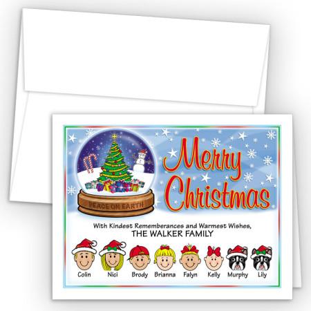 Snow Globe Merry Christmas Holiday Fold Note Head