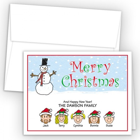 Snowman 3 Merry Christmas Holiday Fold Note Head